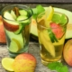 mineral water in glass with fruit slices
