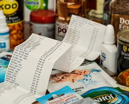 groceries and register receipt
