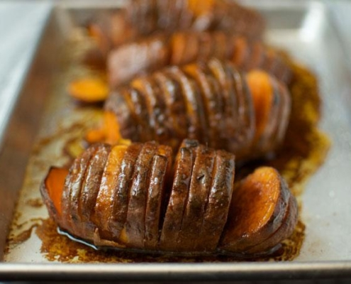 grilled hasselback sweet potatoes infused with molasses