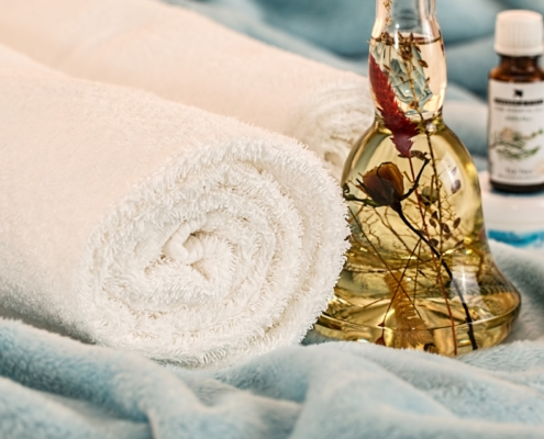 Golden Buddah and spa towel