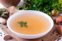bielers soup broth in a white bowl