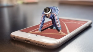 woman running on an iPhone