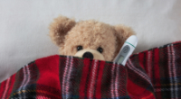teddy bear under red blanket with thermometer