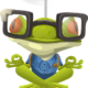 cartoon frog in yoga meditation pose wearing eyeglasses