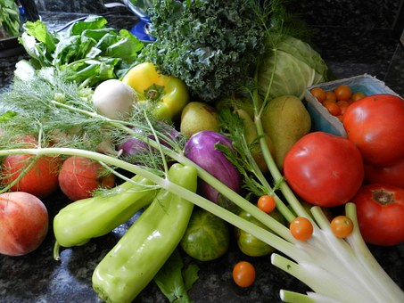 variety of fresh fruits and veggies